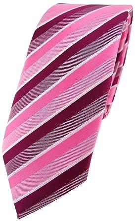 TigerTie - corbata estrecha - rosa pink magenta fuchsia blanco ...