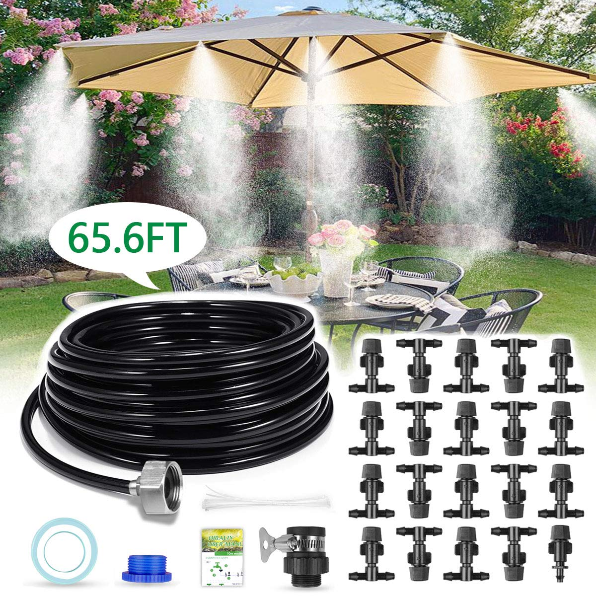 HIRALIY Mist Cooling System Outdoor Misting System 65.6FT (20M) Misting Line 20 Mist Nozzles 3/4'' Metal Threaded Adapter Misters for Patio Garden Greenhouse Umbrellas Trampoline