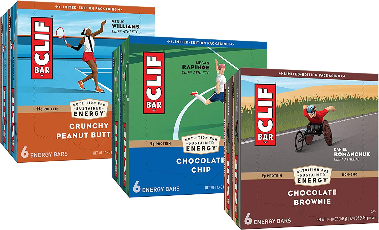 CLIF BARS - Energy Bars – Care Package - Chocolate Chip and Crunchy Peanut Butter - Plant Based - Made with Organic Oats (2.4 oz, 6 Packs, Total 36 Bars) Packaging & Assortment May Vary