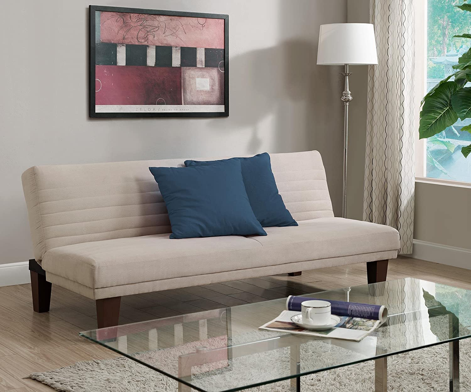 Amazon.com: DHP Dillan Convertible Futon Couch Bed With Microfiber  Upholstery And Wood Legs   Tan: Kitchen U0026 Dining