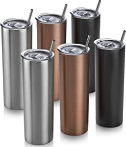 6 Skinny Tumbler 6 Pack - 20 oz Stainless Steel Insulated Reusable Tumbler with Lids and Straws Plus Cleaning Brush – For Hot and Cold Drinks