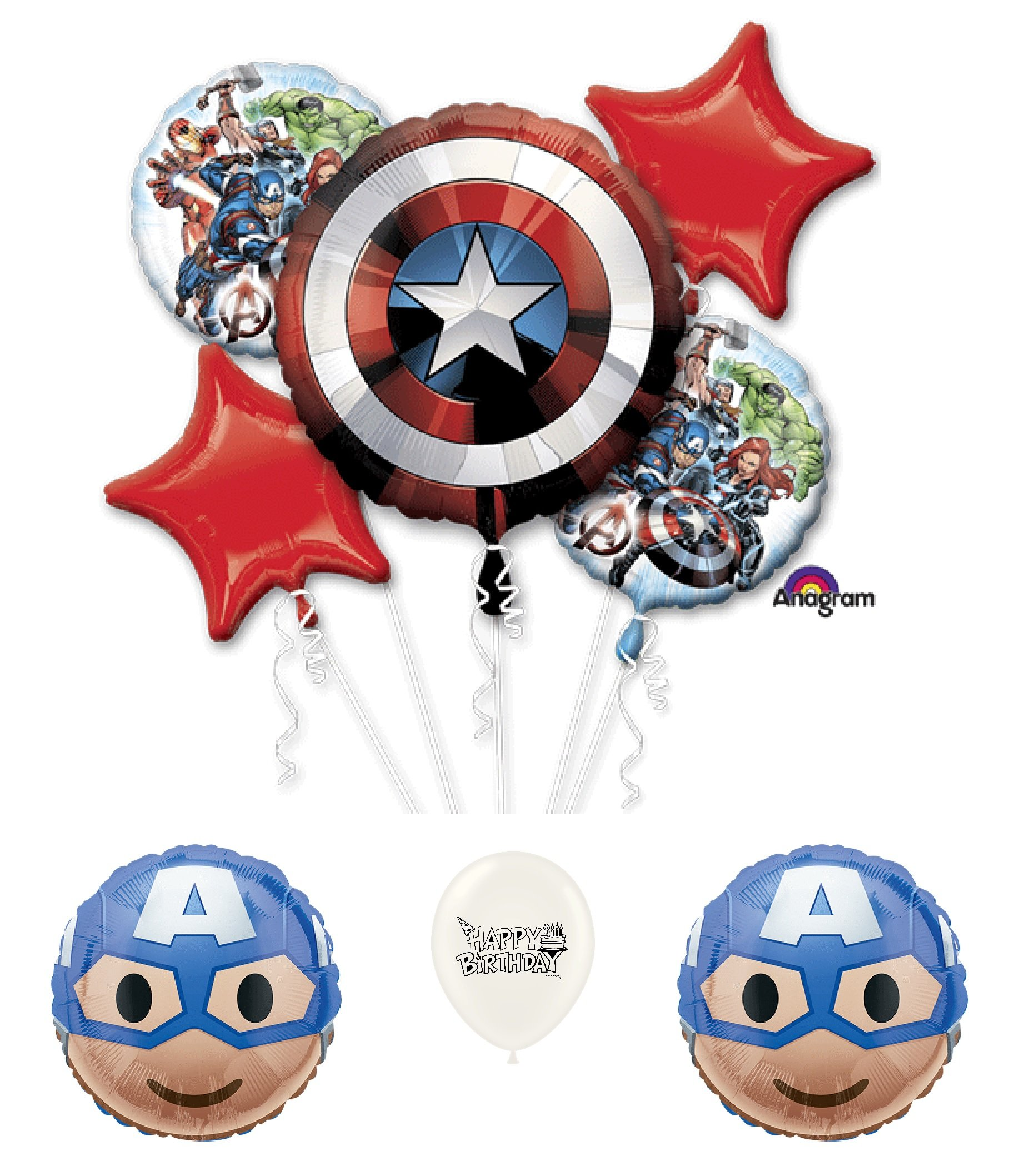 Avengers Captain America 8 piece Birthday Party Balloon Bouquet Bundle