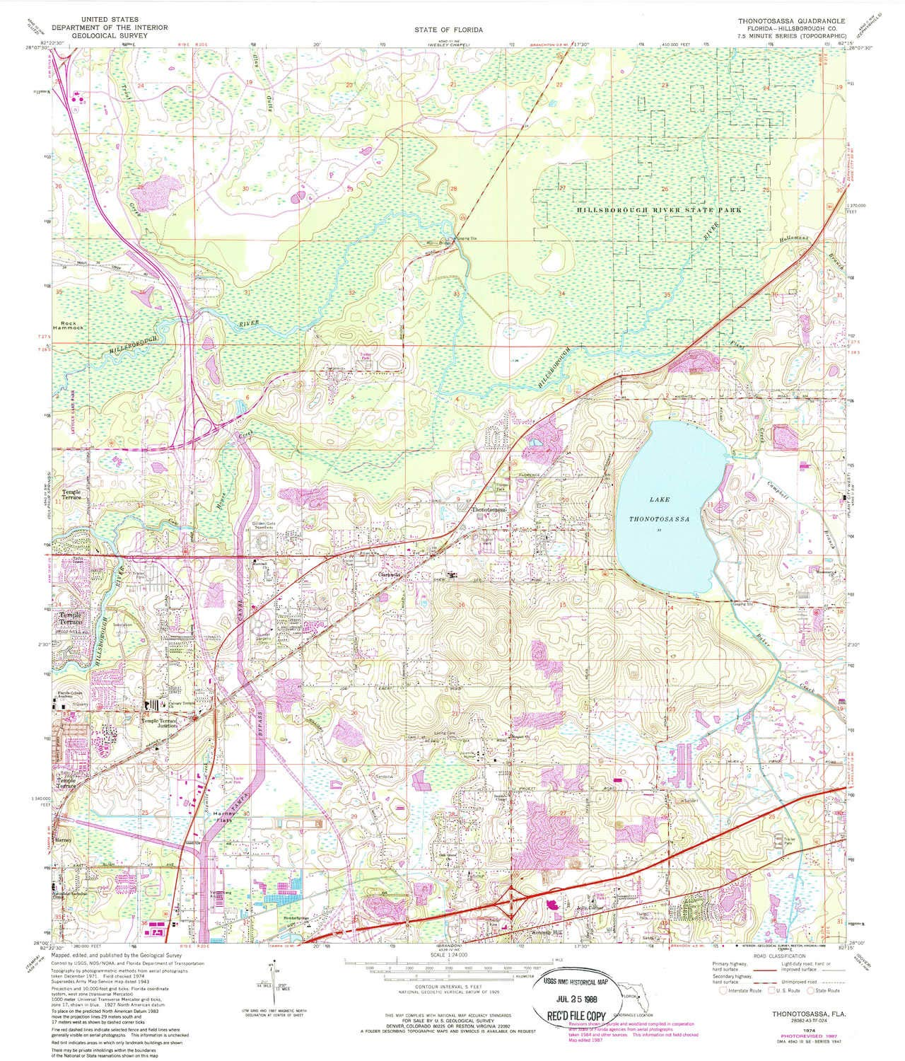 1:24000 Scale YellowMaps Thonotosassa FL topo map Updated 1988 1974 7.5 X 7.5 Minute 26.9 x 23 in Historical