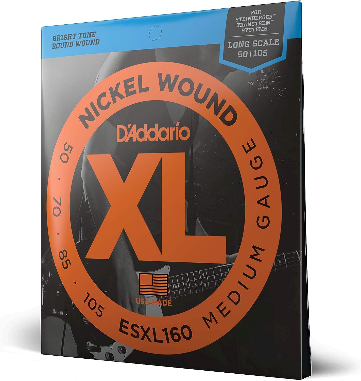 D'Addario ESXL160 XL Nickel Wound Medium- Cuerdas de doble bola para bajo eléctrico (.050-.105)