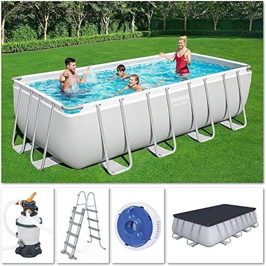 Bestway 56671 Power Steel – Piscina exterior rectangular 488 x 244 ...