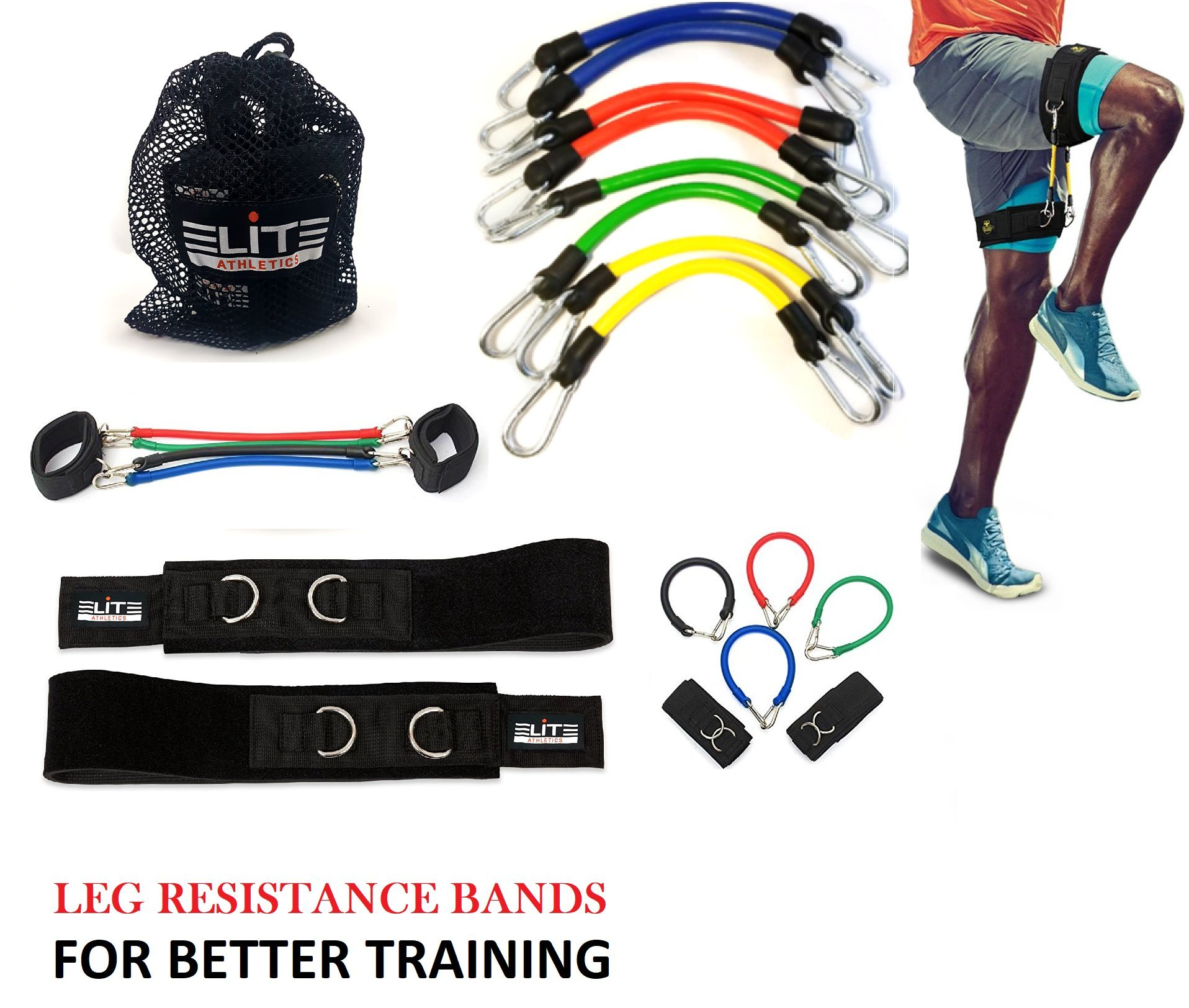 Speed Agility Kinetic Leg Resistance Bands - Ultimate Speed Training - Thigh Straps 8 Exercise&Fitness Bands + Carry Bag-Increase Muscle Endurance all Sports Specific -Football Basketball Soccer