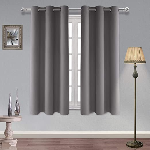 Amazon Com Hiasan Thermal Insulated Grey Blackout Curtains Noise Reduction And Sun Blocking Grommet Window Curtains For Bedroom 42 X 72 Inches Long 2 Panels Home Kitchen