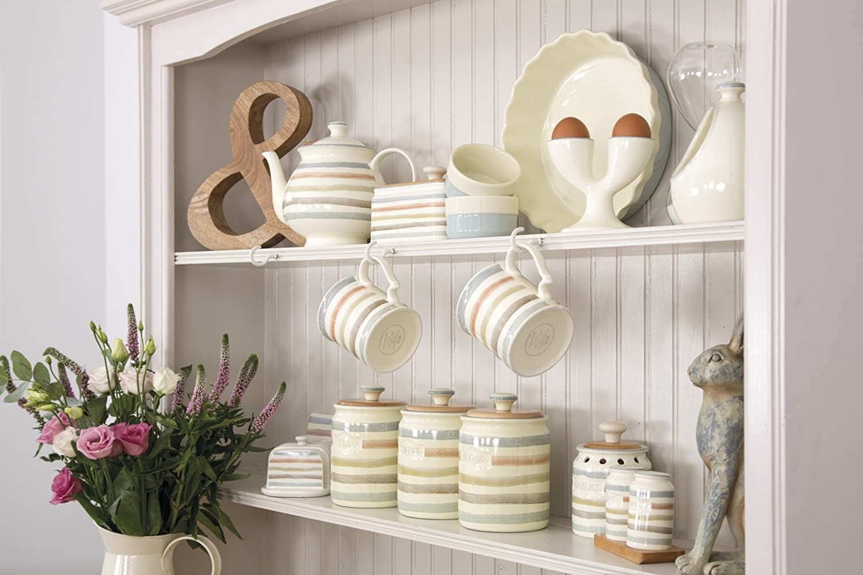 Kitchencraft classic collection striped ceramic coffee storage jar 800 ml 28 fl oz cream amazon co uk kitchen home