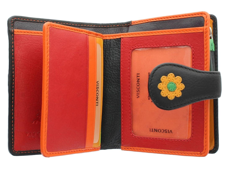 Visconti Colección Daisy SUNSHINE Monedero de Cuero con Cierre de Lengüeta para Mujer DS80 Negro
