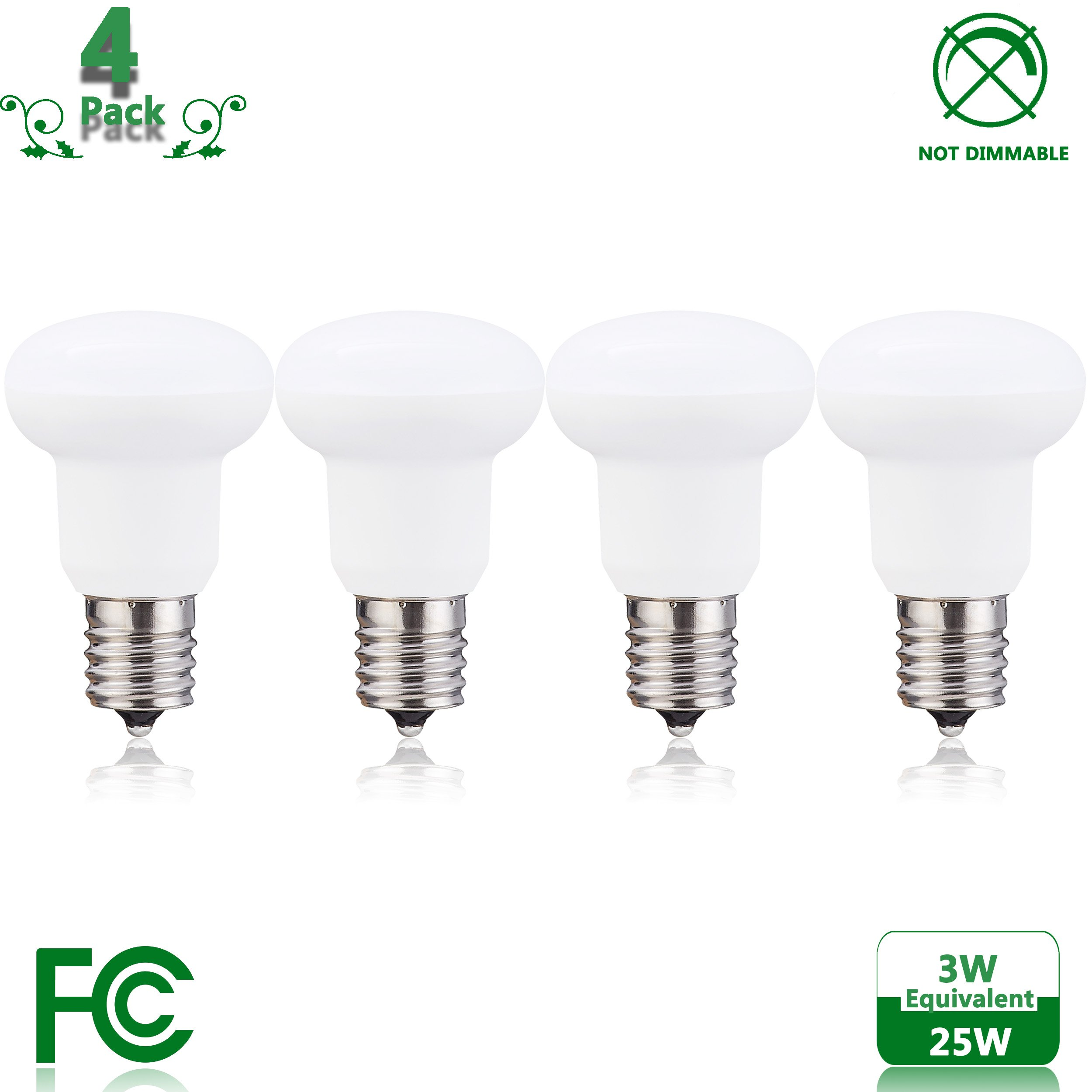 R14 3W LED bulb E17 Non-Dimmable, 25W Incandescent Bulbs Equivalent, Nature White 4000 - 4500K Circular Umbrella Mushroom Lamp - (Pack of 4)
