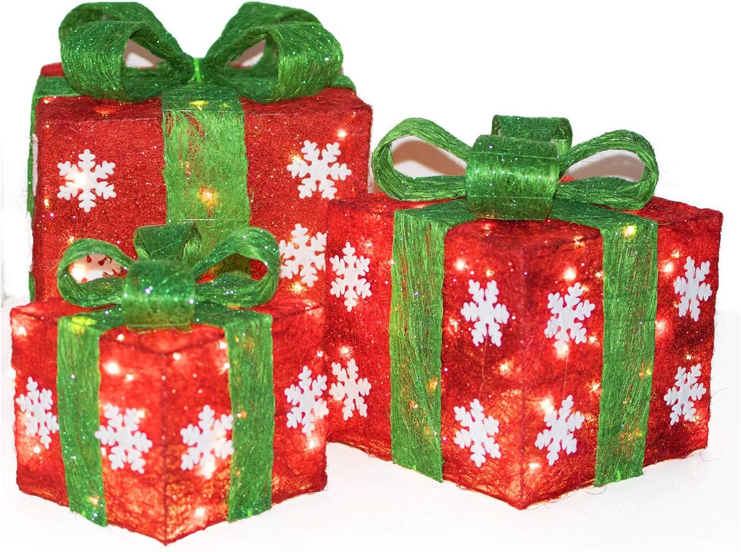Peralng Caja de Regalo iluminada para decoración de Navidad, Cajas de Regalo pequeñas, Medianas y Grandes, decoración para el hogar o el Patio: Amazon.es: Hogar