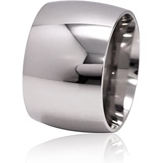 De Lelu Mens Womens Stainless Steel Wide Wedding Ring Band 15MM
