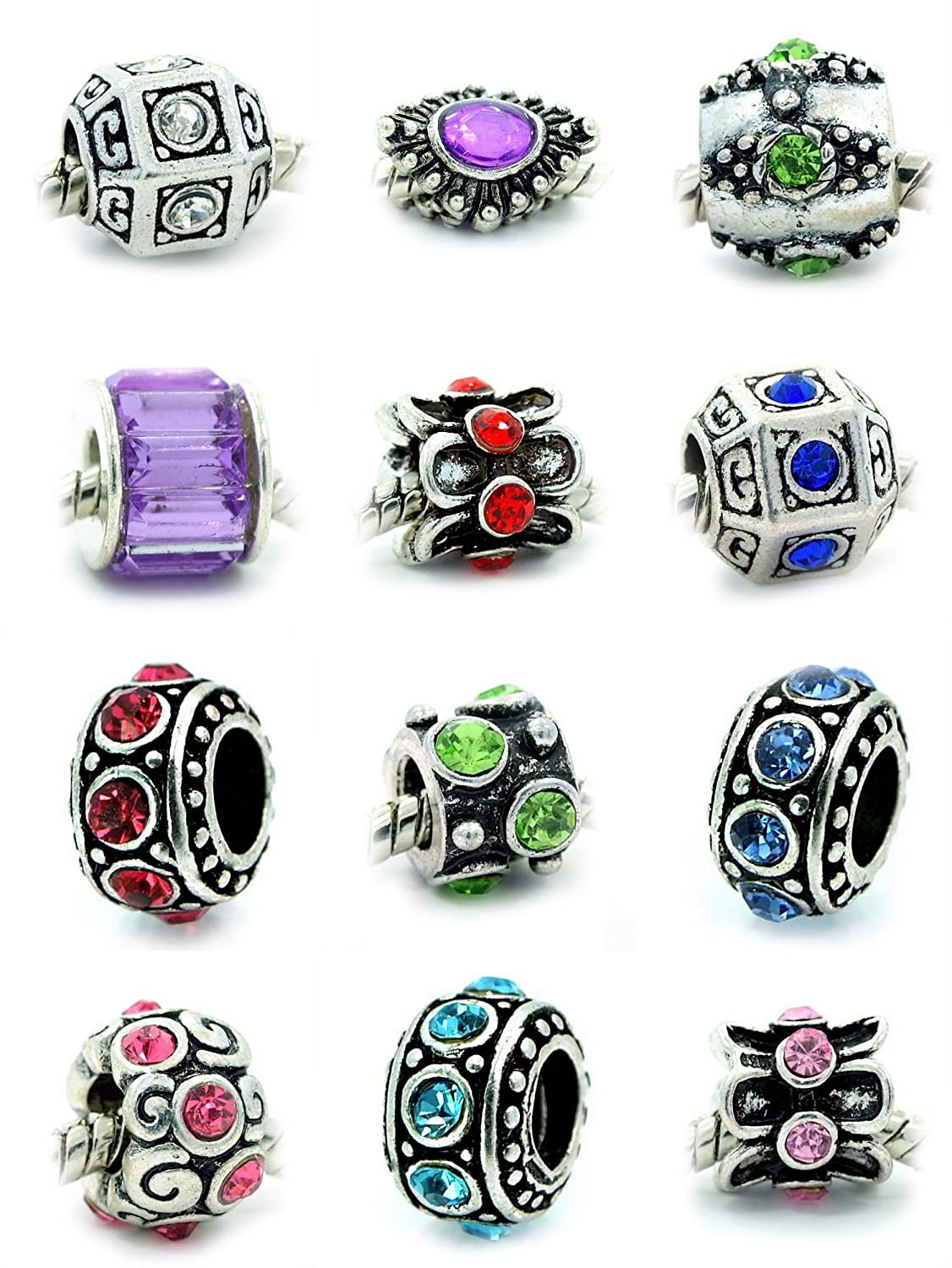 f0e100f52 order amazon ten assorted crystal rhinestone bead charm spacers jewelry  79bdc c04ae