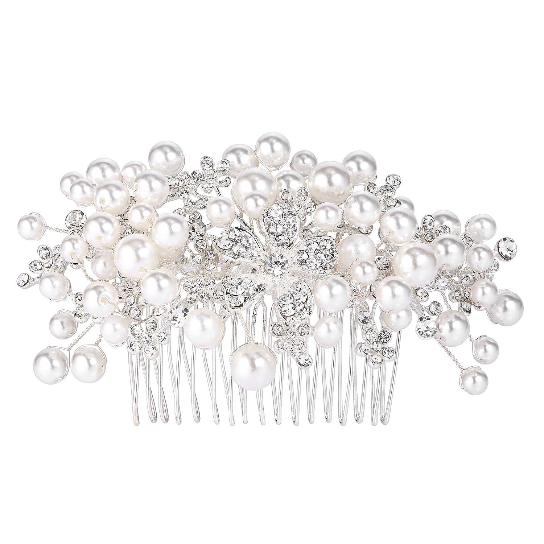 BriLove Women's Wedding Bridal Cream Simulated Pearl Crystal Filigree Leaf Hair Pin 12001290-1ca