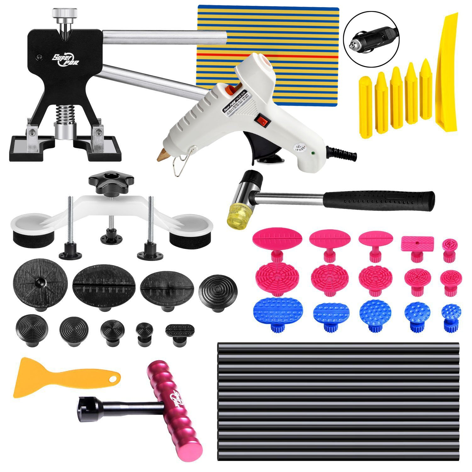 FLY5D® 49Pcs Car Body Paintless Dent Repair Tools Set Kits Puller Lifter Hail Slide Hammer Glue Gun Stick