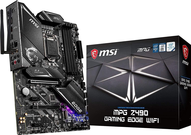 MSI MPG Z490 Gaming Edge WiFi ATX Gaming Motherboard (10th Gen Intel Core, LGA 1200 Socket, DDR4, CF, Dual M.2 Slots, USB 3.2 Gen 2, Wi-Fi 6, DP/HDMI, Mystic Light RGB) (Renewed)