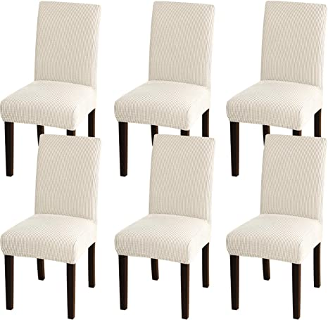 Amazon Com Turquoize Chair Covers For Dining Room Dining Chair Covers Set Of 6 Stretch Dining Chair Slipcover Parsons Chair Covers Removable Chair Protector Covers For Dining Room Hotel 6 Biscotti Beige Kitchen