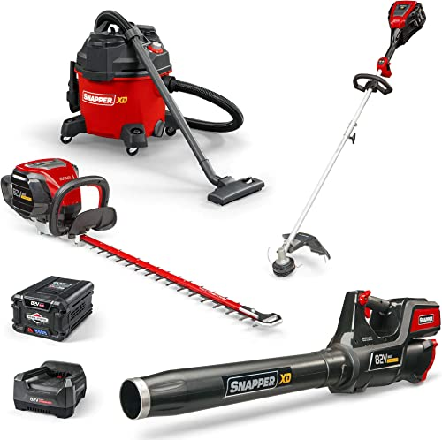 Snapper XD 82V Cordless Electric Bundle with String Trimmer, Leaf Blower, Hedge Trimmer, Wet Dry Shop Vacuum, Battery Rapid Charger