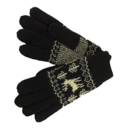 ac40aa252 Unisex Wool Gloves Double Thick Knit Gloves Full Finger Winter Gloves, One  Size (black