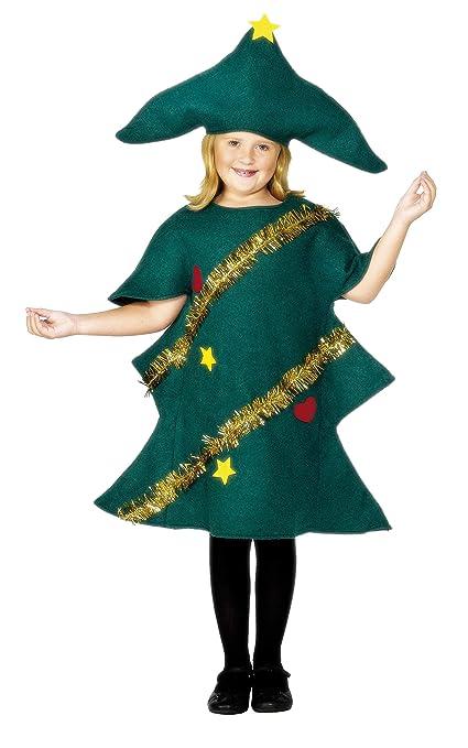 Children Smiffys Disfraz de árbol de Navidad, Verde, con túnica y Gorro