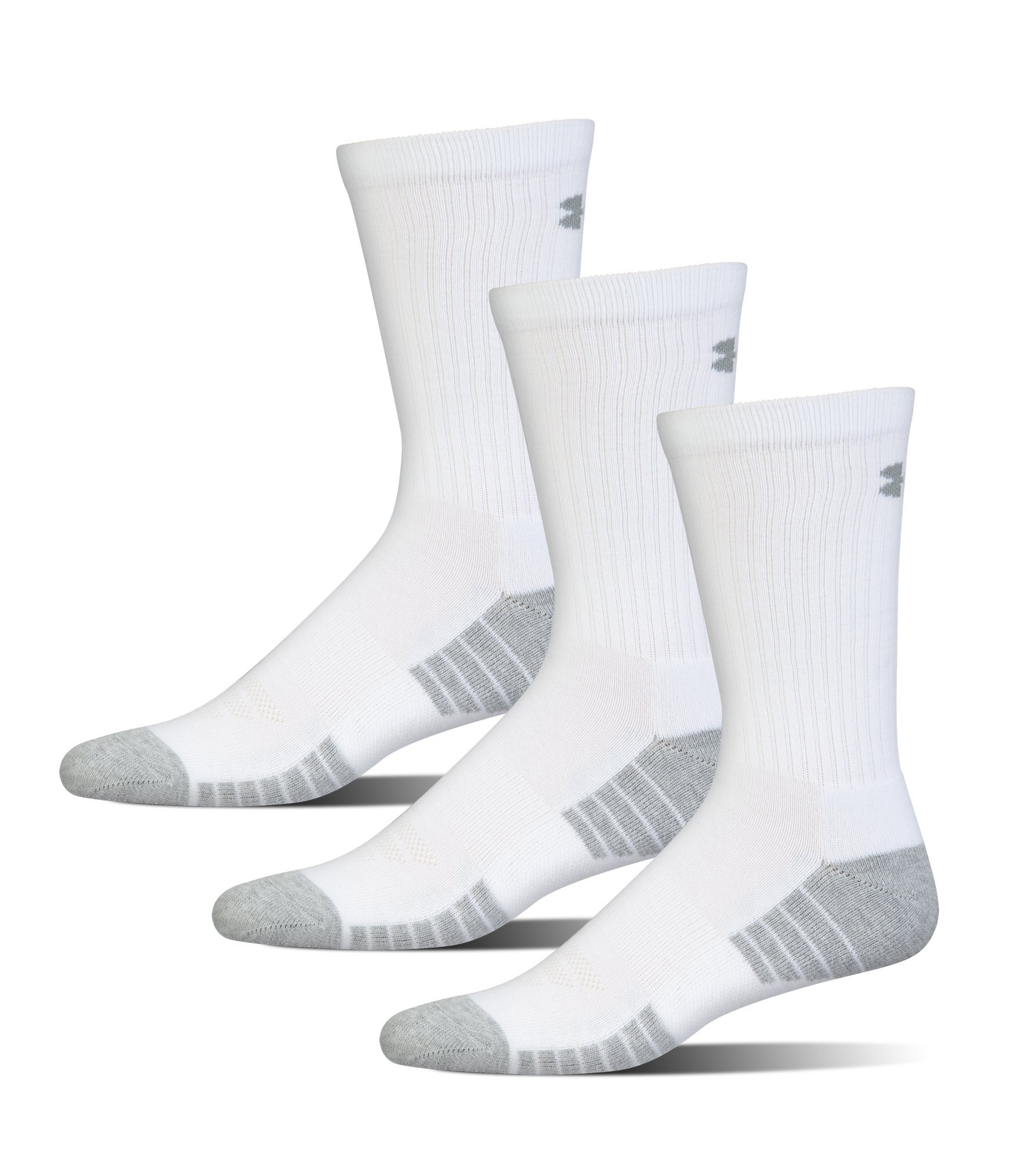 Under Armour Men's Heatgear Tech Crew Socks, White, Medium (3 Pair Pack) by Under Armour