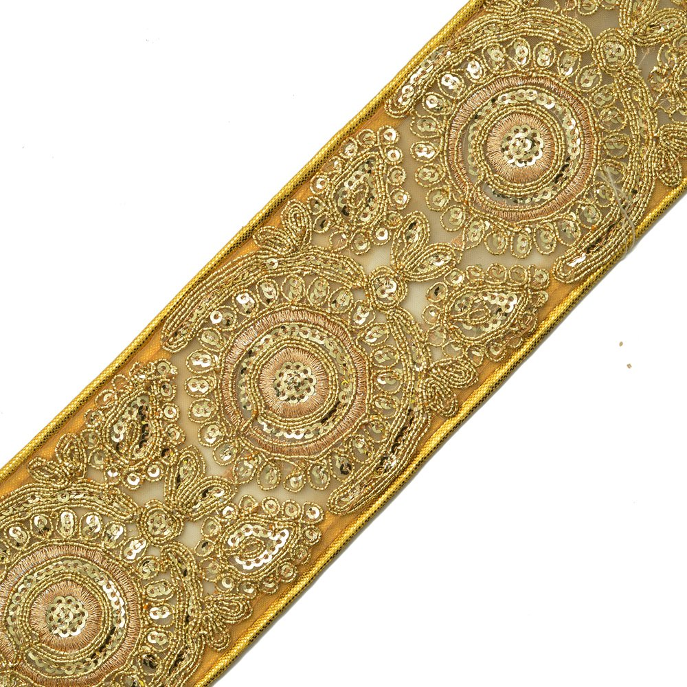 Beaded Sequin GOLD Metallic Lace Trim for Bridal, Costume or Jewelry, Crafts and Sewing, 2-3/4 Inch by 1 Yard, SMB-2042 Joyce Trimming
