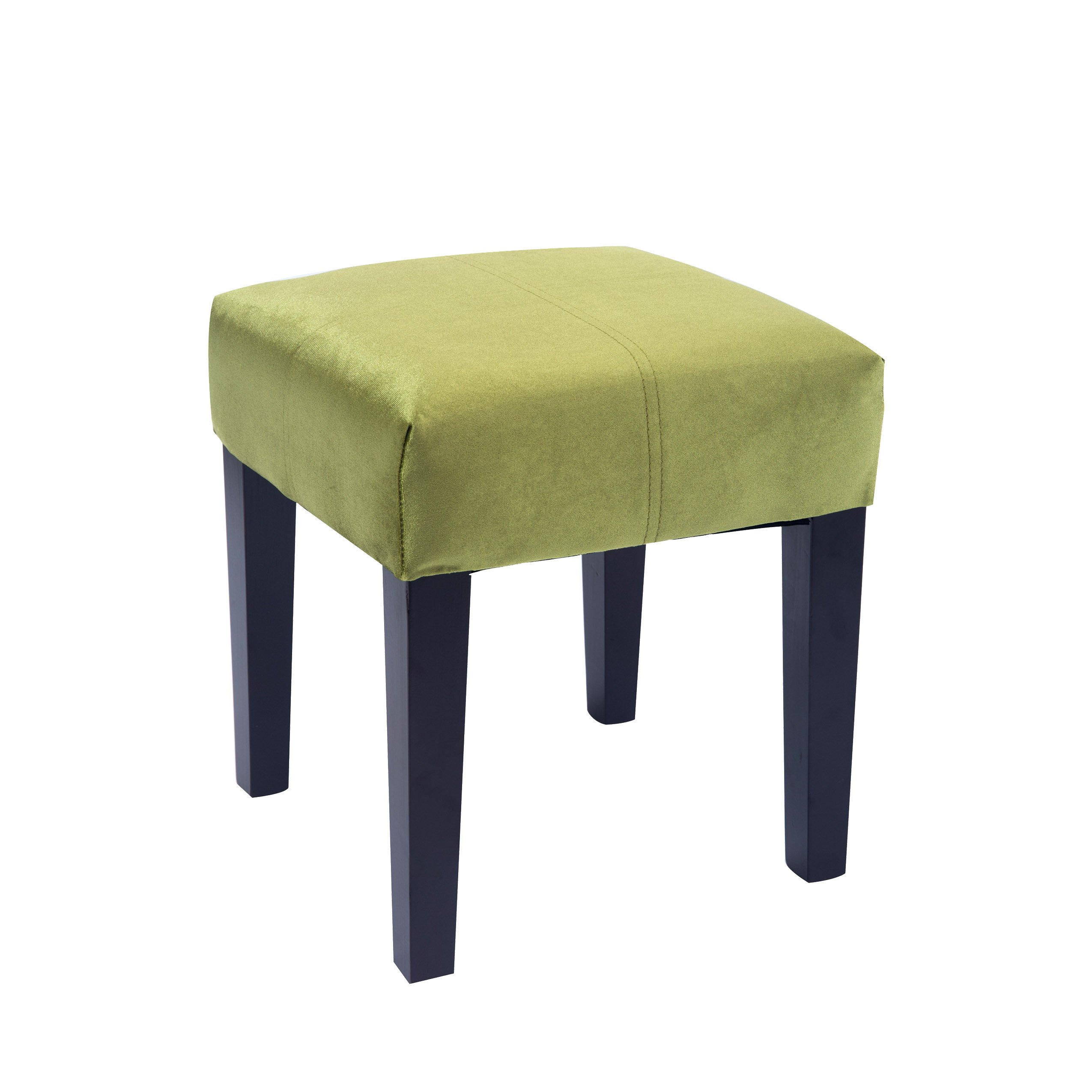 CorLiving Antonio Lad-248-O 16'' Square Ottoman Bench Footrest Velvet with Solid Wood Legs, Green