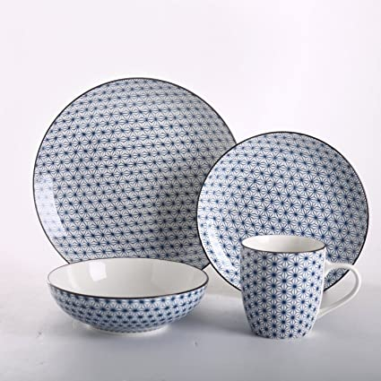 SOLECASA u0026quot;16-Piece/Service for 4u0026quot; Printed Porcelain/Ceramic Dinnerware  sc 1 st  Amazon.com : dinnerware and serveware sets - Pezcame.Com