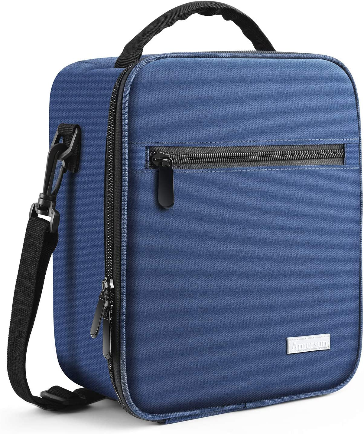 Lunch Bag with Solid Padded Liner,Amersun Spacious Insulated Lunch Box Durable Thermal Lunch Cooler Pack Organizer with Strap for Boys Men Women Girls Adults Sport Picnic Camp Beach,2 Pockets(Blue)