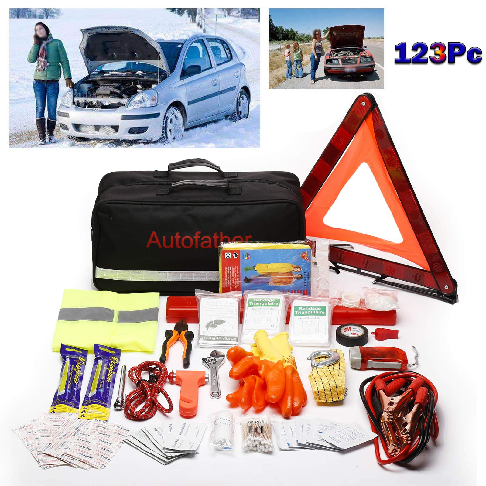 123-Piece Roadside Assistance Emergency Safety Kit with Jumper Cable Heavy Duty Booster Cables for Car Battery Warning Triangle 3T Tow Strap First Aid Kit Perfect Gift for Family Girlfriend New Driver by Bowoshen