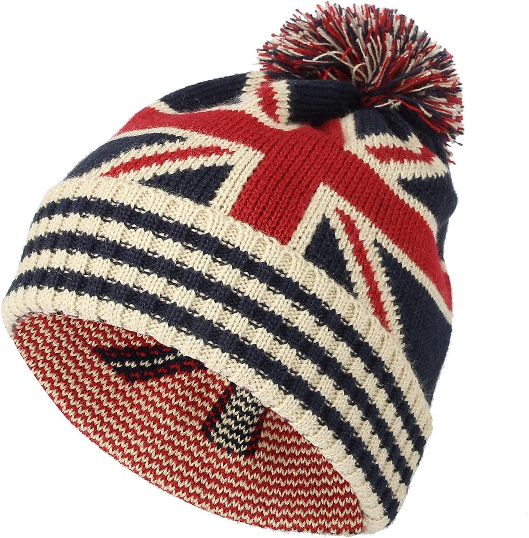 WITHMOONS Knit US Canada Flag Union Jack Pom Beanie Hat JZP0027