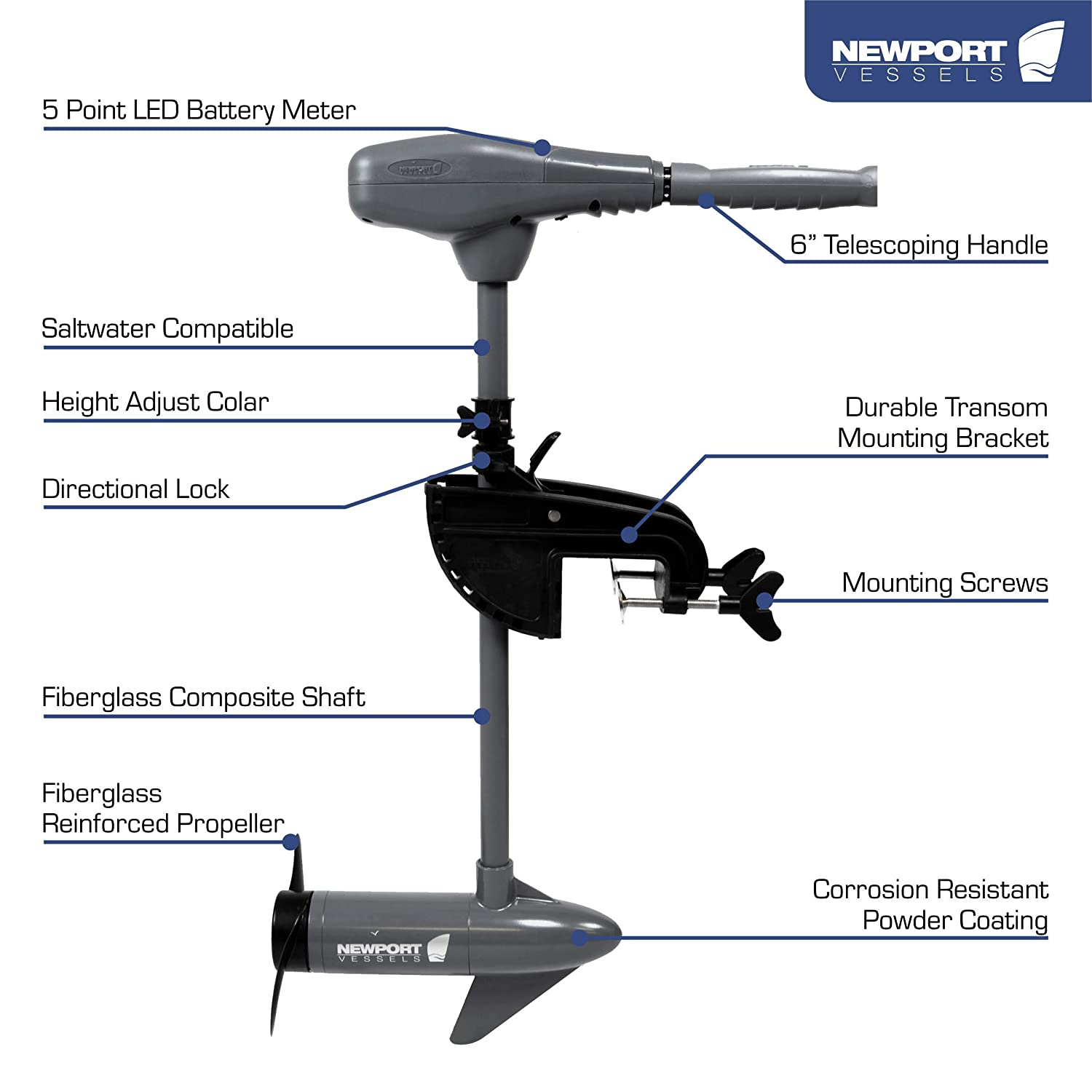 Newport Vessels Kayak Series 36lb/55lb Thrust Transom Mounted Saltwater  Electric Trolling Motor w/LED Battery Indicator (24