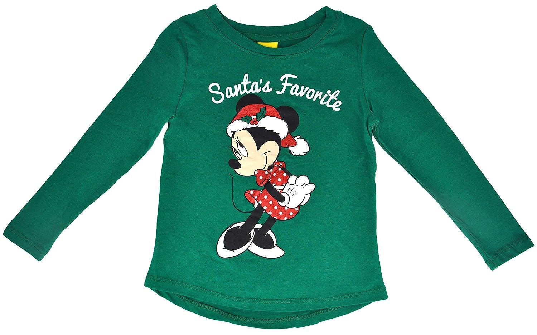 Disney Girls T-Shirt Minnie Mouse Santas Favorite Glitter Christmas Holiday