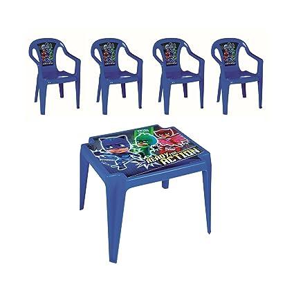 PJ-Masks Juego de Mesa y 4 sillas para Niños para Interiores y Exteriores,