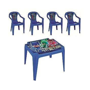 PJ-Masks - Juego de Mesa y 4 sillas para niños para Interiores y Exteriores, Jardines, Patios, picnics: Amazon.es: Hogar