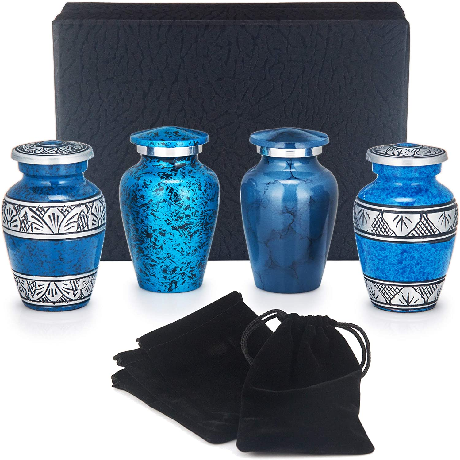 Adera Dreams Small Urns For Human Ashes Keepsake Set Of 4 Blue Memories Mini Cremation Urns Memorial Ashes Urn With Case Velvet Pouch And Funnel Miniature Burial Funeral Urns