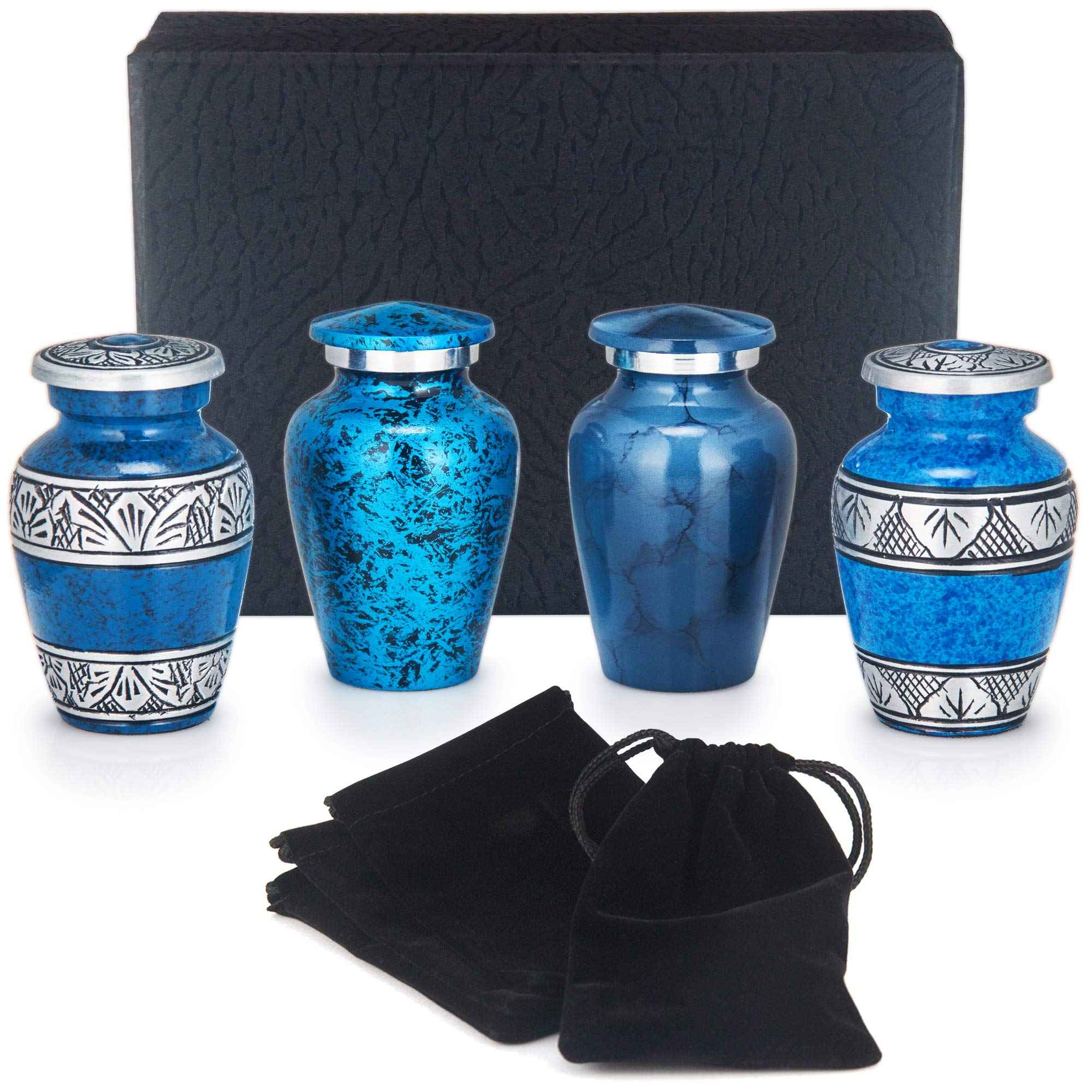 Adera Dreams Small Urns for Human Ashes Keepsake - Set of 4 Blue Memories Mini Cremation Urns - Memorial Ashes Urn with Case, Velvet Pouches and Funnel - Miniature Burial Funeral Urns for Sharing Ash by Adera Dreams