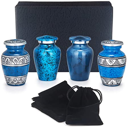 Adera Dreams Mini Urns for Human Ashes – Blue Small Cremation Urns – Personal Keepsake Urns – Set of 4 with Premium Case, Funnel and Velvet Carrying Pouches – Miniature Memorial Funeral Urns