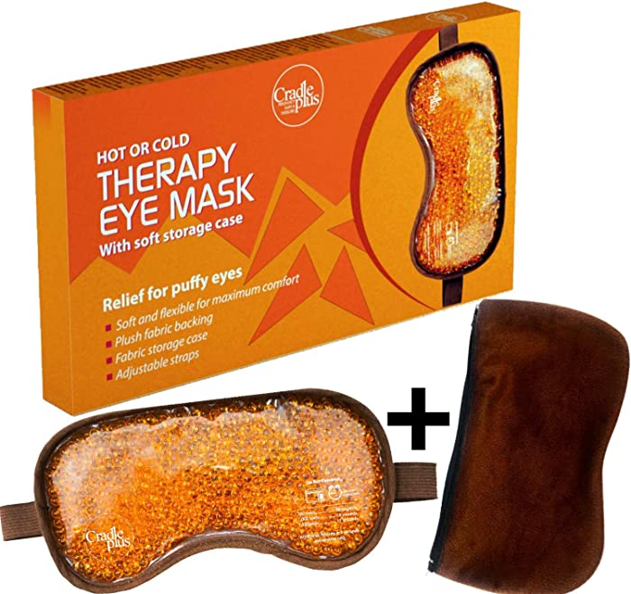 Eye Mask for Puffy Eyes | Re-Usable Hot or Cold Gel Bead Therapy Sleep Mask | Heated Eyemask for Dry Eyes | Ice Pack to Relieve Migraine, Sinus, Headache & for Comfort Sleeping