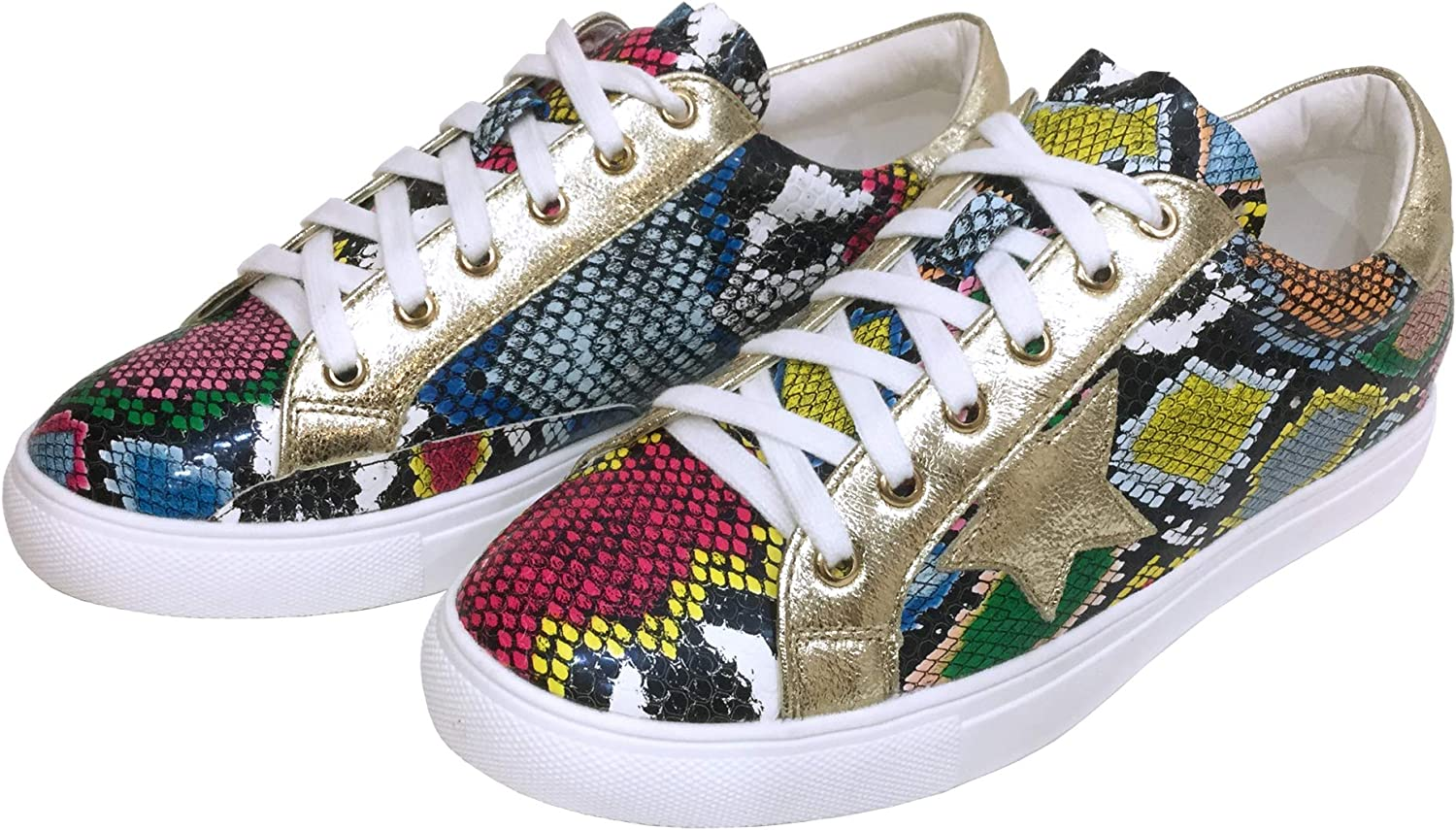 Women Classic Two Tone Star Lace up Fashion Sneakers (6, Multi Snake)