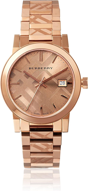Ladies Burberry el Ciudad Grabado Check Reloj bu9146
