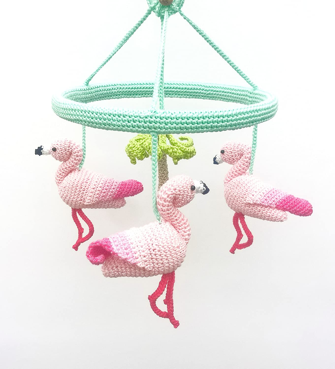 Pink Flamingo Baby Mobile, Baby Girl Nursery Mobile with Crochet Flamingos