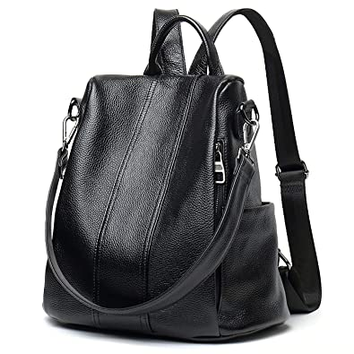 1d0857c6b6e5 Amazon.com  Backpacks for Women Large Capacity Leather Womens Backpack  School Bag ANTI-THEFT Design two ways carry Shoulder Bags  Clothing