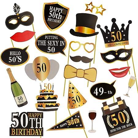 KissDate 24 accesorios para fotomatón de 60 cumpleaños ...