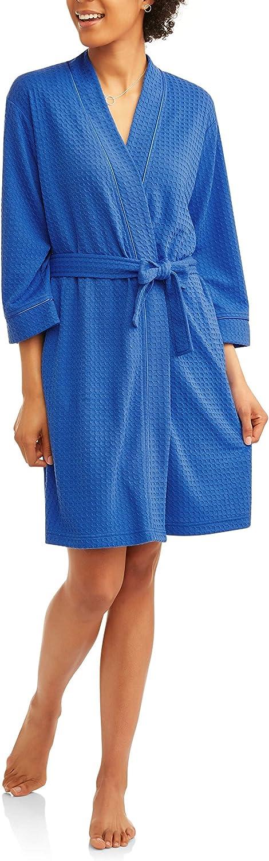 Sweatwater Men Sleepwear Polka Dot Print Checkered Short Sleeve Bathrobe Kimono Robe