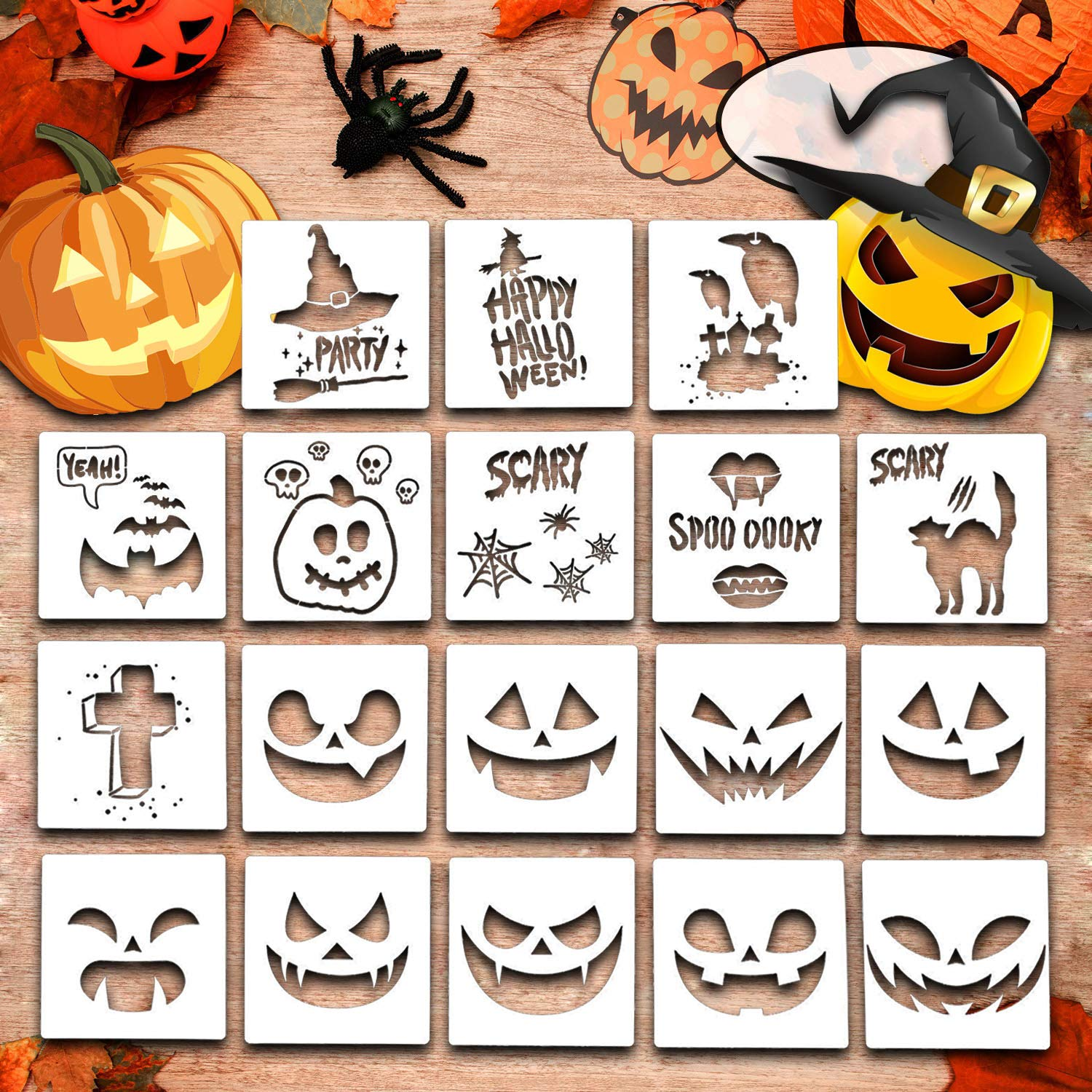 Halloween Stencils for Painting, 20 Pack Plastic Painting Stencils, Reusable Pumpkin Expression Templates for DIY Card, Craft Art Drawing Painting Spraying, Window (Halloween Stencils) by Showvigor