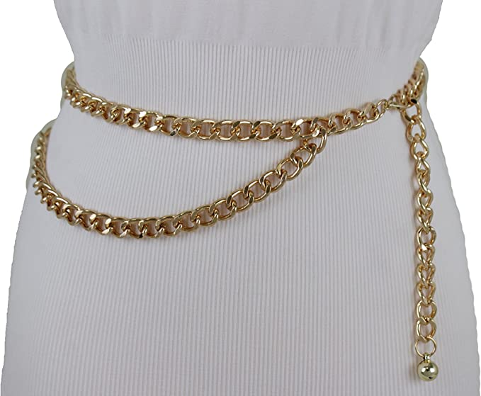 Hot Women Belt Black Silver Gold Metal Chain Links Hip Waist Fashion XS S M L XL