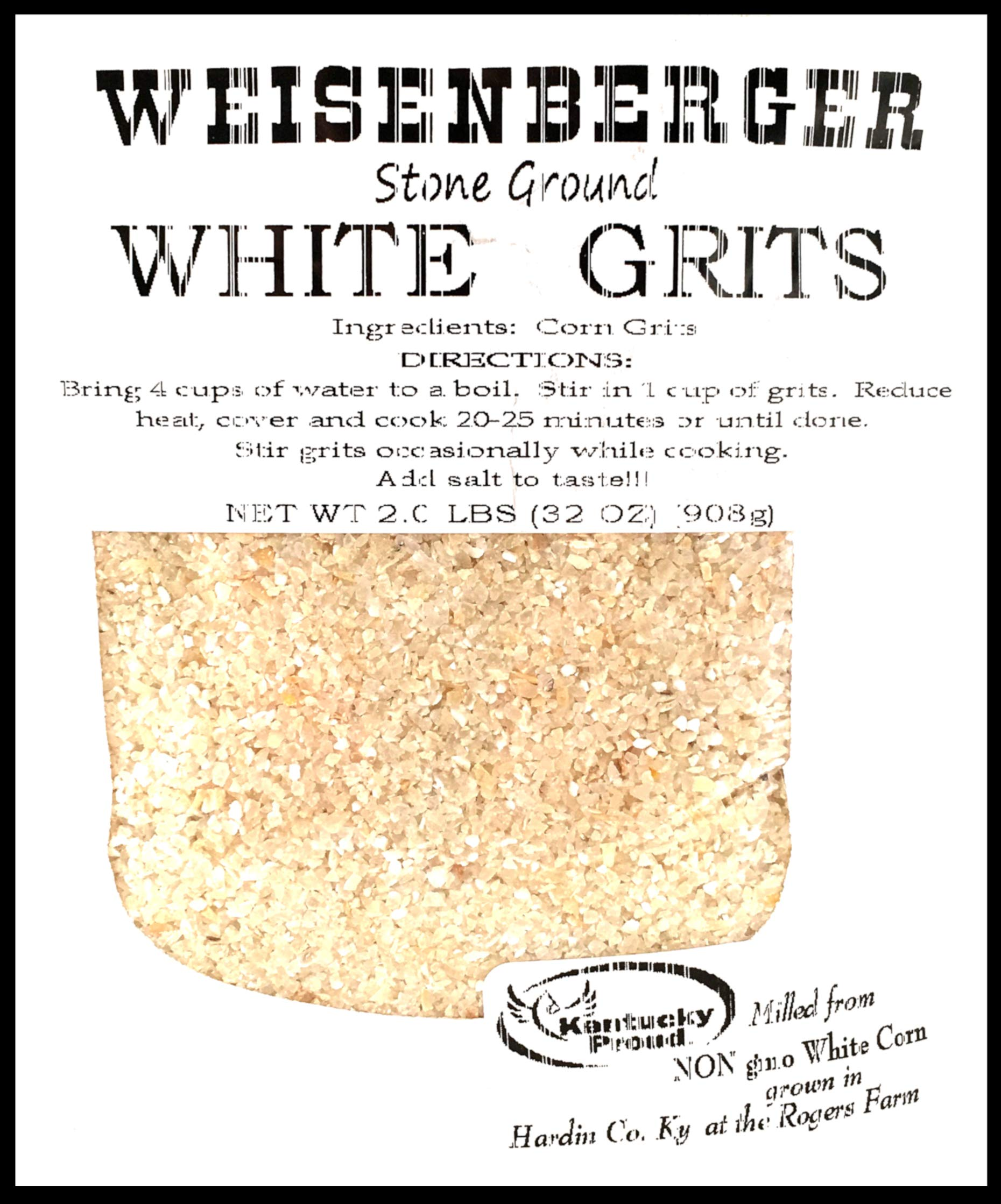 Weisenberger Stone Ground White Grits - Authentic, Old Fashioned, Southern Style Corn Grits - Local Kentucky Proud Product - Non GMO Course Ground Cornmeal Grits - White, 2 lb - 2 Pack