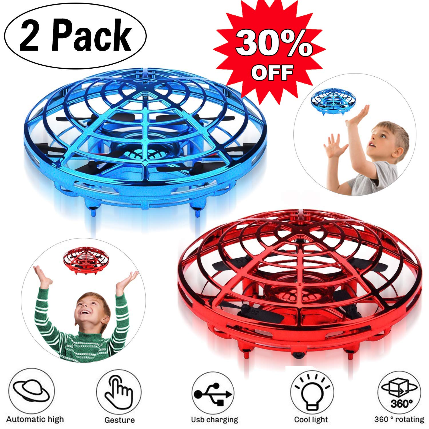 [2 PCS] Flying Ball, RC Flying Toy, 360°Rotating Hand Remote Mini Drone Controlled Quadcopter with 2 Speed Auto-Avoid Obstacles LED Light Infrared Induction Helicopter Kids Easter Gifts for Boys Girls