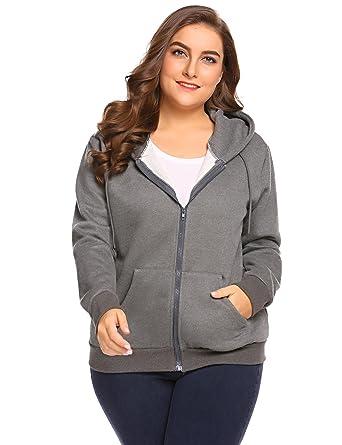 deea1ce969bbd Zeagoo Lightweight Thin Zip-Up Hoodie Jacket For Women With Plus Size Drak  Grey 20W